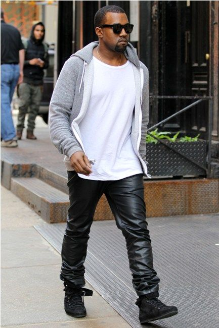 Kanye West's Style | 2011 - Oh yes 'check him out' rocking the shades, leather pants and hoodie