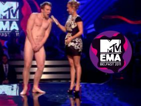 EMA WTF Moment - Naked Guy On Stage With Hayden Panettiere