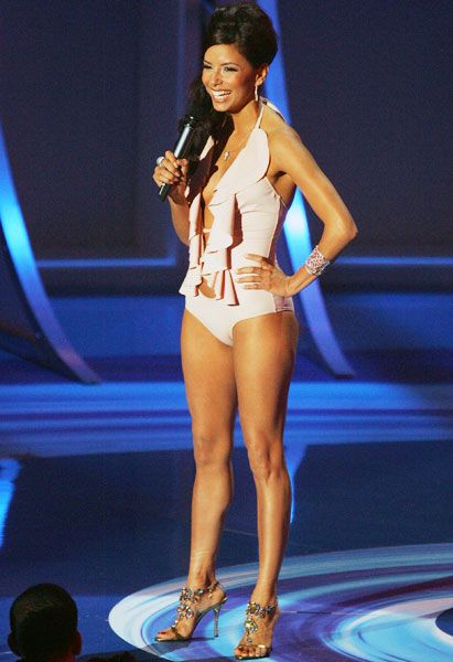 VMA Fashion | Barely There - 08.28.2005, Miami, FL: Everyone in the audience must have wanted to take a dip in a pool after seeing Eva Longoria in her VMA bathing suit outfit.