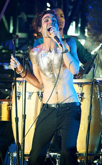 VMA Fashion | Barely There - 9.12.2010, Los Angeles, CA: Tyson Ritter keeps his outfit simple as he forgoes a shirt for gobs of glitter.