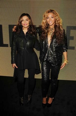 Beyonce Glows As Mama To Be - Beyonce and her mum, Tina Knowles at London Fashion week for the launch of their new clothing collection