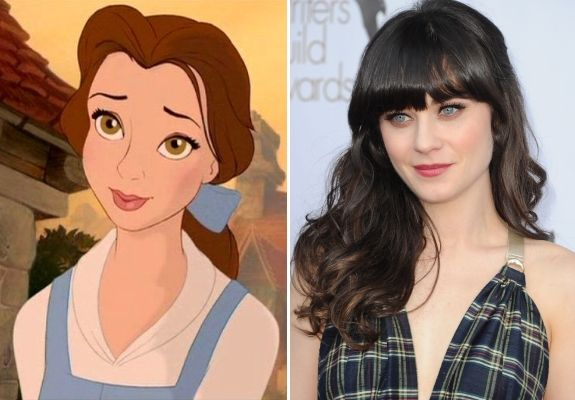 Celebs and Their Cartoon Look-A-Likes - Belle & Zooey Deschanel