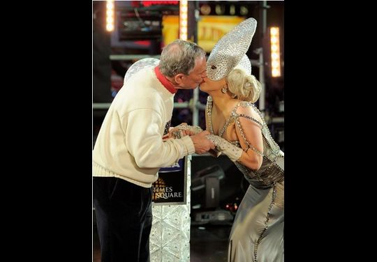 Lady Gaga And Mayor Michael Bloomberg Kiss on New Year's Eve 2012 In Times Square New York