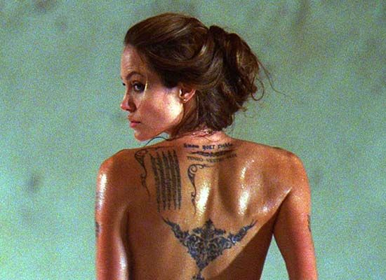 Funkiest Movie Tattoos - Angelina Jolie, 'Wanted' (2008)