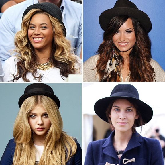 BEST OF 2011 | CELEBRITY ACCESSORIES - #4) Classic Black Hats - Beyonce at the U.S. Open, Demi Lovato visits Y 100 radio station, Alexa Chung at the Hop Farm Festival, and Chloe Moretz at the Toronto Film Festival. <a href='/news/must-see-must-have-celeb-accessories-of-2011/' target='_blank'>[READ FULL ARTICLE]</a>
