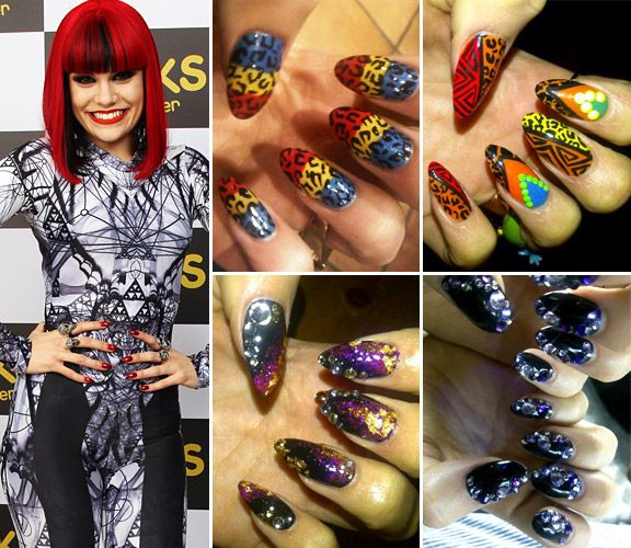 Funky Celeb Nails - #10) Nail Art - Jessie J'S Funky Nails <a href='/news/must-see-must-have-celeb-accessories-of-2011/' target='_blank'>[READ FULL ARTICLE]</a>