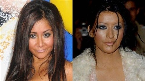 Snooki Is Secret Twin Of Christina Aguilera - Both of you need a new hair artist!