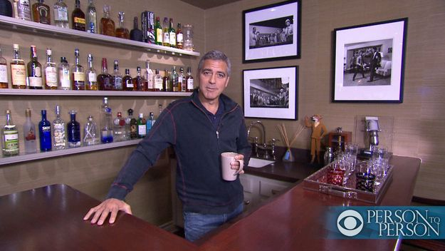 Happy 51st Birthday George - George Clooney At His Home Bar, CBS'