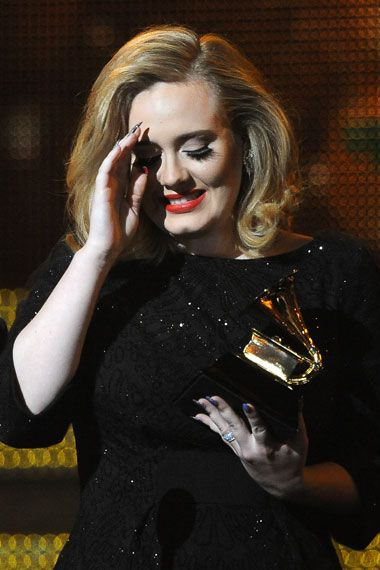 2012 Grammy Award Highlights - Adele gets emotional over her 2012 Grammy Award for Best Pop Solo Performance