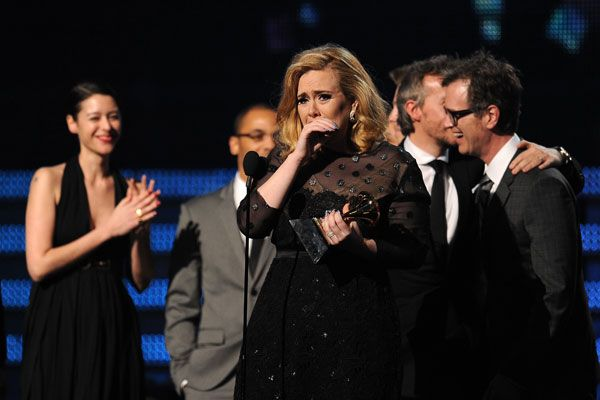 2012 Grammy Award Highlights - Adele gets emotional with her win for Album of the Year at the 2012 Grammy Awards