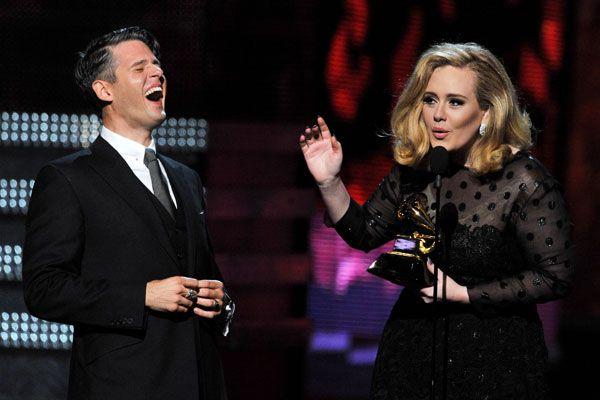 2012 Grammy Award Highlights - Adele and Paul Epworth receive the Grammy for Best Song Of The Year.