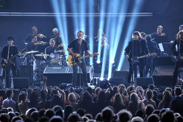 2012 Grammy Award Highlights - Bruce Springsteen and the E Street Band perform the opening song at the Grammys - 