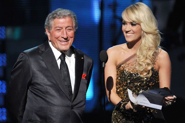 2012 Grammy Award Highlights - Tony Bennett and Carrie Underwood present the Award for Best New Artist