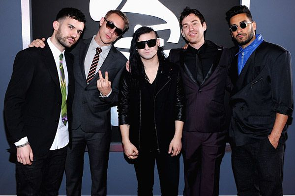 2012 Grammy Awards Red Carpet - A-trak, Skrillex, Diplo-Photek and Armand on the Red Carpet at the 2012 Grammy Awards.
