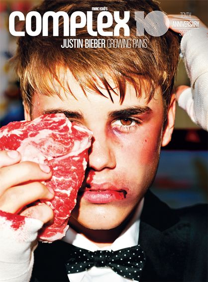 Justin Bieber Bloody But Not Beaten - Justin Bieber Cover Complex Magazine. Photography by Tony Kelly for Complex Magazine. ADDITIONAL CREDITS: (STYLING) Matthew Henson. (GROOMING) Vanessa Price. (MAKEUP) Miho Suzuki. (CLOTHING) Suit by Dolce & Gabbana / Shirt by Won Hundred / Bow tie by TOPMAN / Shoes by Android Homme.