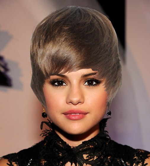 Justin Bieber Celebrity Hairdoos - Is This Catching? - Selena Gomez - this is a date disaster waiting to happen