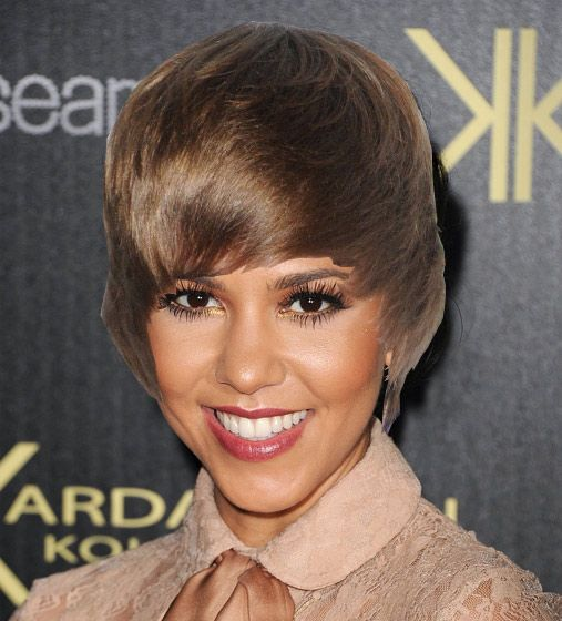 Justin Bieber Celebrity Hairdoos - Is This Catching? - Kourtney Kardashian - goes with the lipstick
