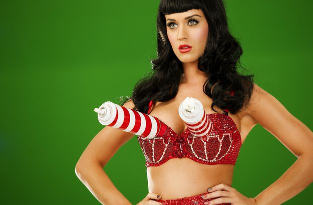 Things Katy Perry Has Worn On Her Breasts - Cans Of Whipped Cream