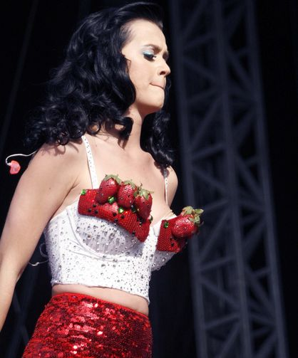 Things Katy Perry Has Worn On Her Breasts - Strawberries