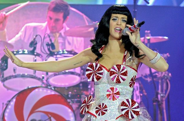 Things Katy Perry Has Worn On Her Breasts - Peppermint Candies