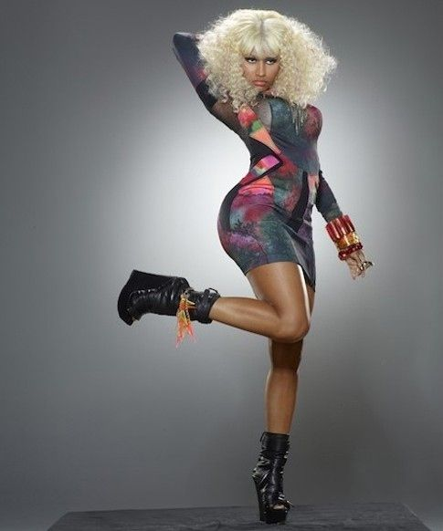 Nicki Minaj Booty Pictures - Super high playforms with a cosmic aibrush slip dress accented by frizzy leached white hair - meow!