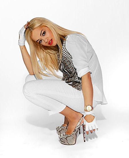 Rita Ora's Exclusive MTV Photo Shoot - Rita wears a top by Zara; pants by Zara; shoes by Christian Louboutin; gloves by Obesity and Speed.
