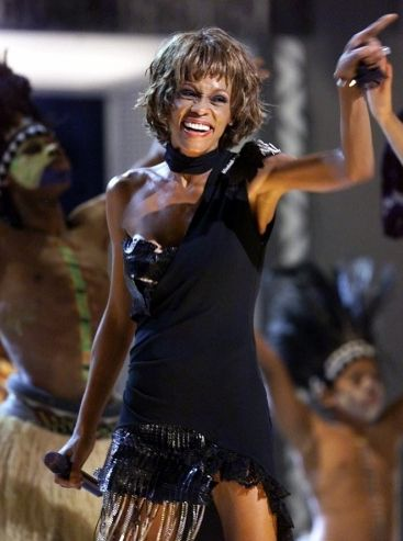 Whitney Houston | Timeline - 1963 to 2012 - Whitney Houston - 2001 - A very skinny Whitney performs during a Michael Jackson tribute concert.