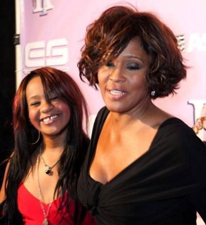 Whitney Houston | Timeline - 1963 to 2012 - Whitney Houston - 2012 - with daughter at Clive Davis' pre-Grammy party