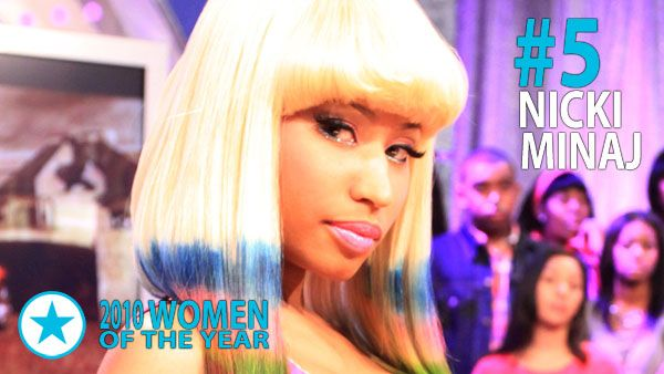 Men & Women of 2010 - Woman of the Year #5: Nicki Minaj. Emerging from relative obscurity, in 2010 she became the first artist to have seven songs on the Billboard Hot 100 chart simultaneously.
